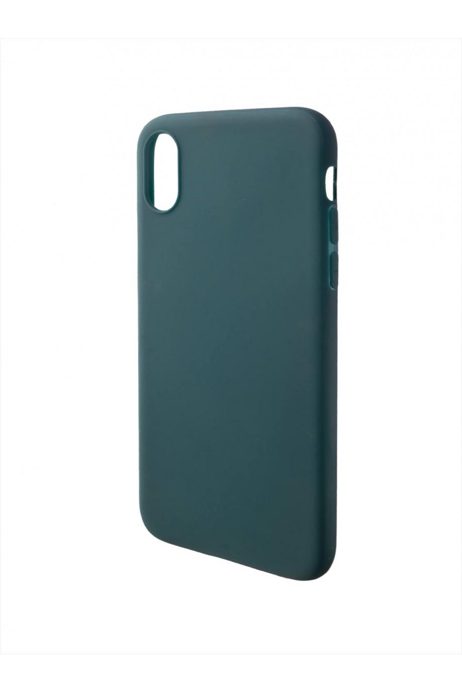 Чехол силиконовый для iPhone XS, темно-зеленый