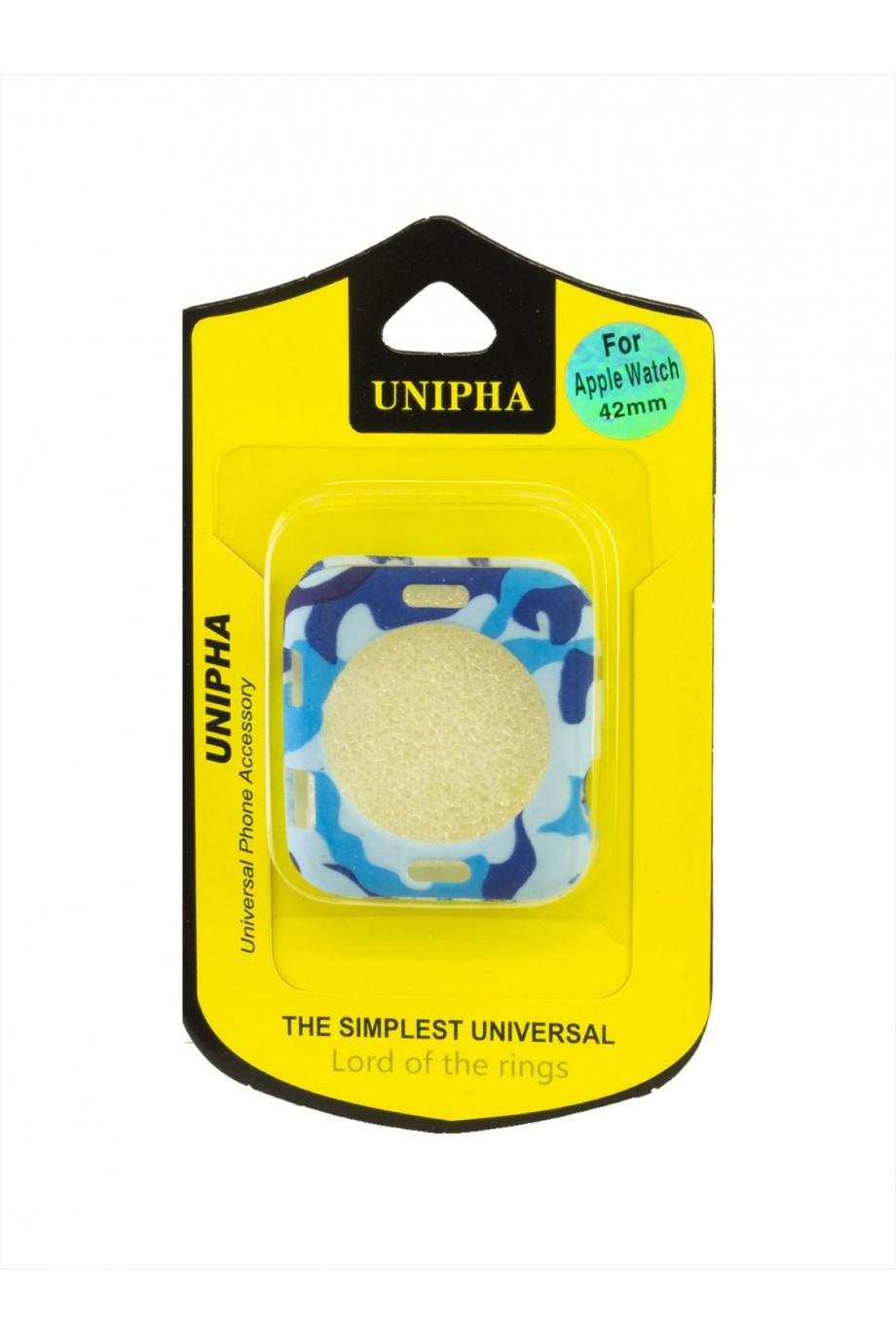 Чехол Unipha для Apple Watch, силиконовый, камуфляж голубой, 42 мм