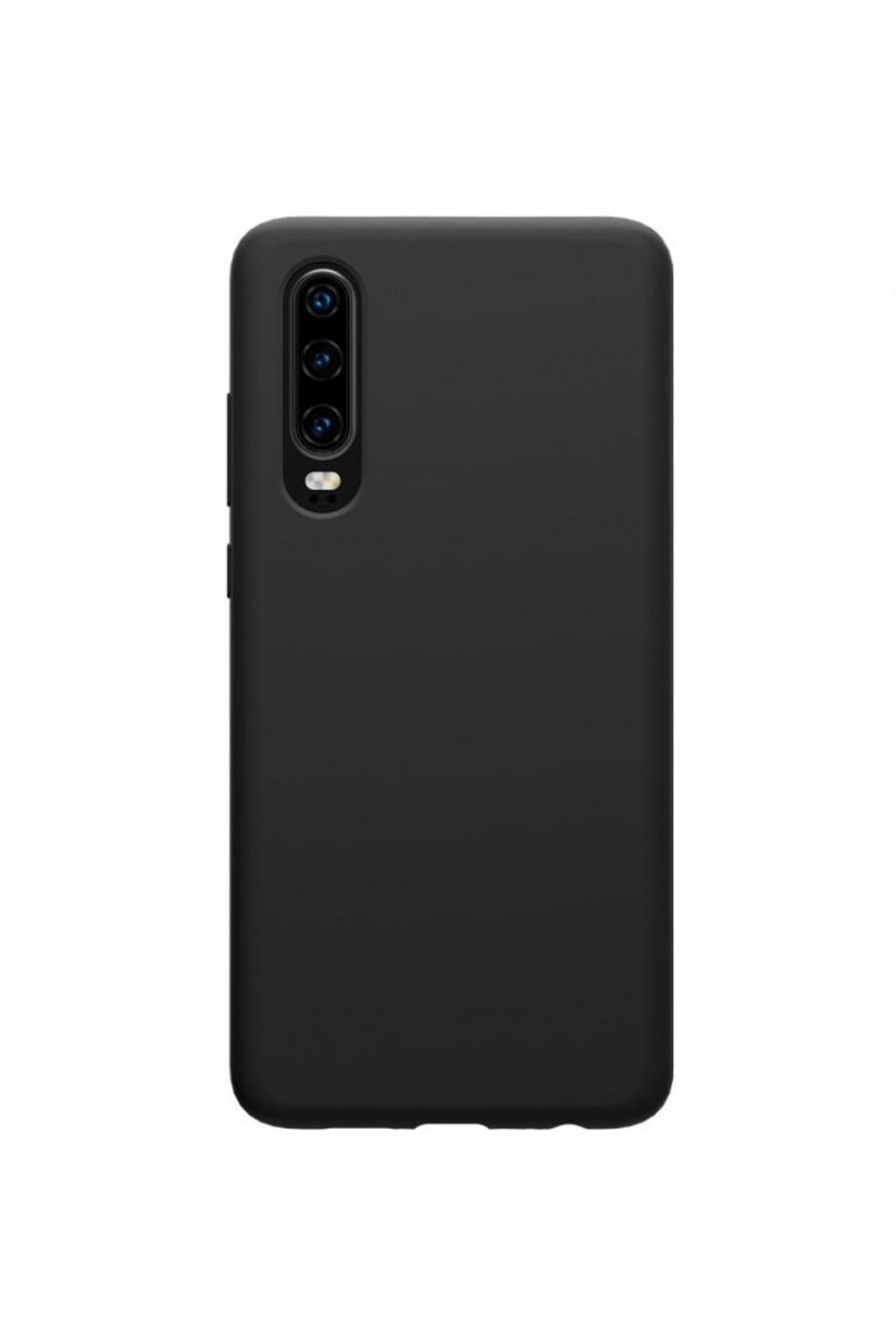 Чехол силиконовый для Huawei P30, черный, матовый