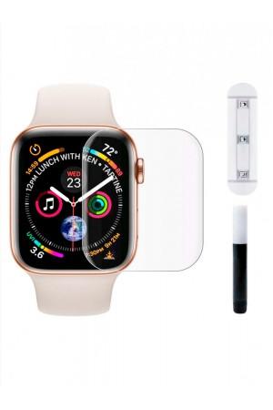 Защитное стекло 3D для Apple Watch 1/2/3 42 мм, прозрачное, с лампой и клеем