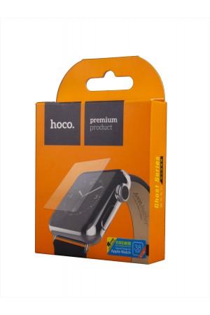 Защитное стекло, пленка Hoco для Apple Watch 1/2/3 38 мм, черная рамка, полный клей