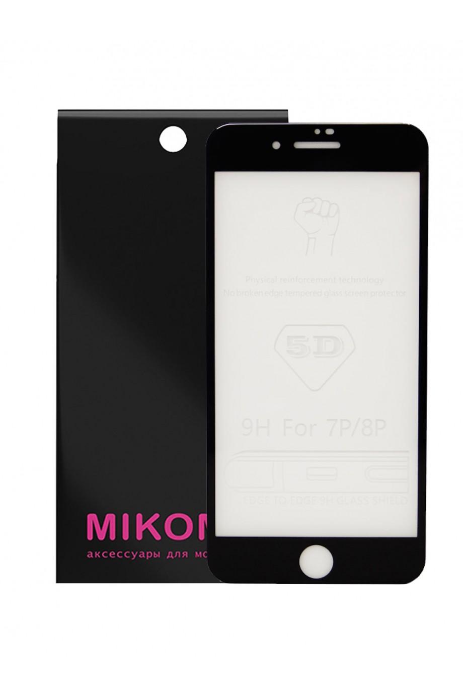 Защитное стекло 5D Mikomo для iPhone 8 Plus, черная рамка, полный клей