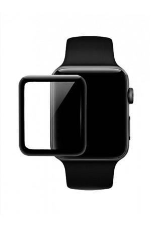 Защитное стекло 3D для Apple Watch 4/5 44 мм, черная рамка, полный клей