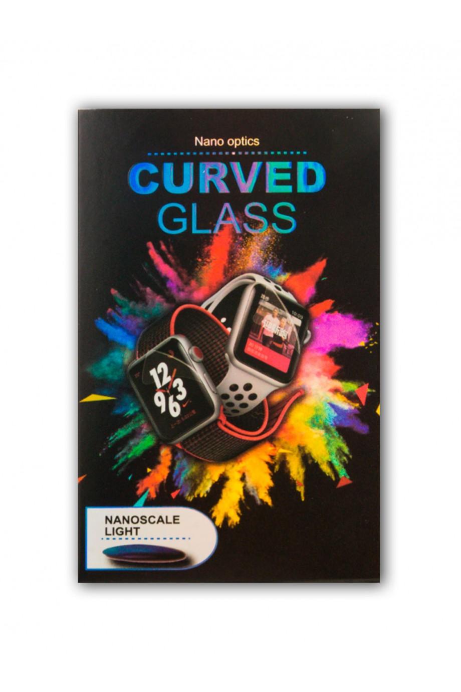 Защитное стекло 3D для Apple Watch 1/2/3 38 мм, прозрачное, с лампой и клеем
