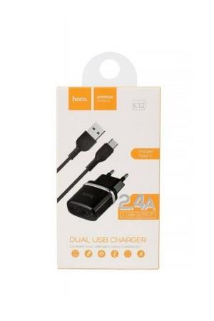Зарядное устройство HOCO C12, кабель Type-C, 2 USB, 2.4 A