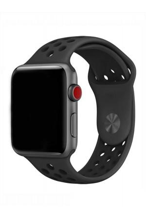 Силиконовый ремешок для Apple Watch 3 38 мм, перфорированный, черный