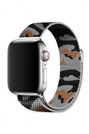 Металлический ремешок для Apple Watch 3 42 мм, камуфляж зеленый