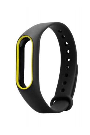 Силиконовый ремешок для Xiaomi Mi Band 2, черный с желтой окантовкой