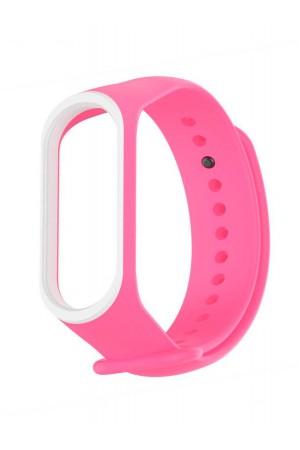 Силиконовый ремешок для Xiaomi Mi Band 3, ребристый, розовый с белой окантовкой