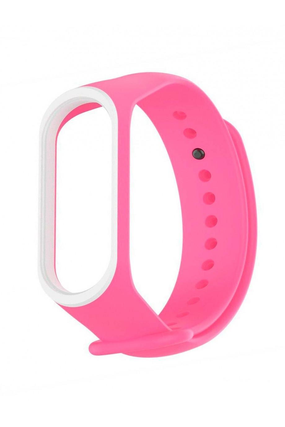 Силиконовый ремешок для Xiaomi Mi Band 4, розовый с белой окантовкой