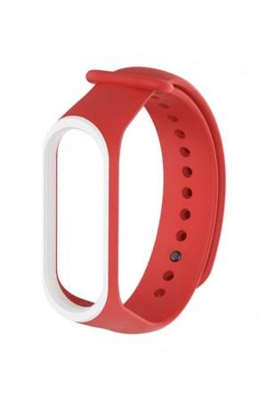 Силиконовый ремешок для Xiaomi Mi Band 4, красный с белой окантовкой