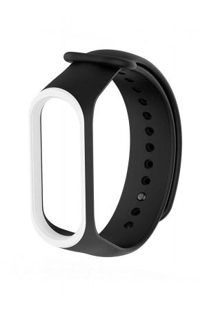 Силиконовый ремешок для Xiaomi Mi Band 4, черный с белой окантовкой