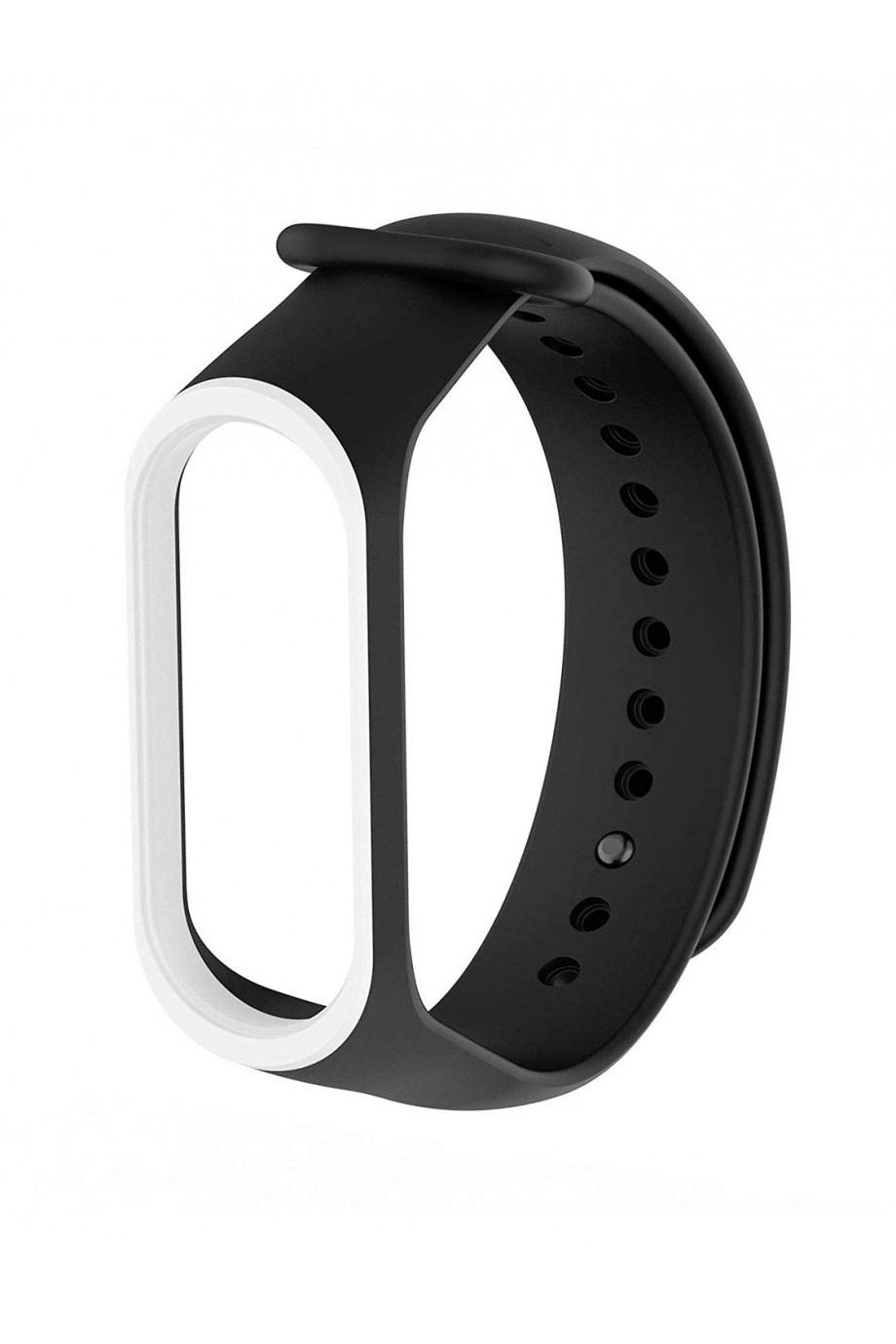 Силиконовый ремешок для Xiaomi Mi Band 3, черный с белой окантовкой
