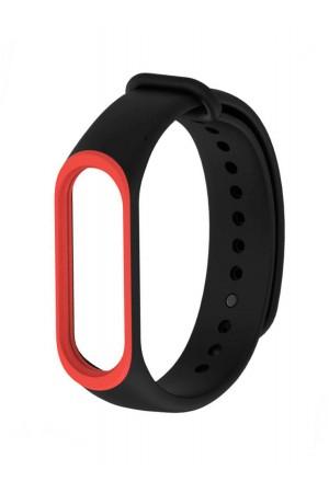 Силиконовый ремешок для Xiaomi Mi Band 3, черный с красной окантовкой