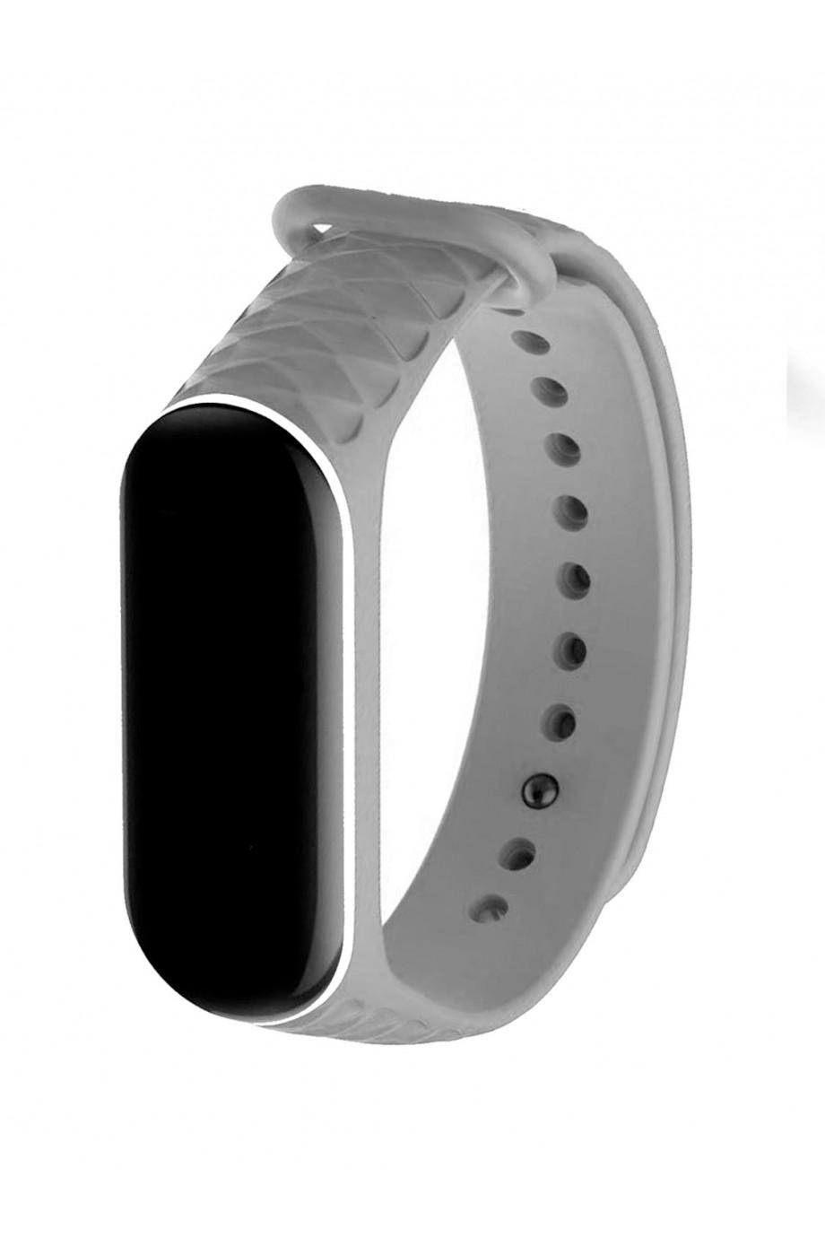 Силиконовый ремешок для Xiaomi Mi Band 3, ребристый, серый с белой окантовкой