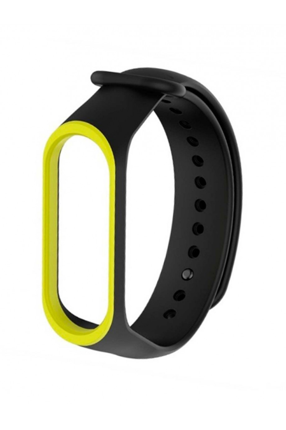 Силиконовый ремешок для Xiaomi Mi Band 3, черный с желтой окантовкой
