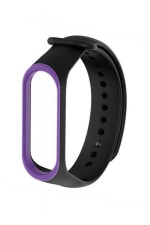 Силиконовый ремешок для Xiaomi Mi Band 3, черный с фиолетовой окантовкой