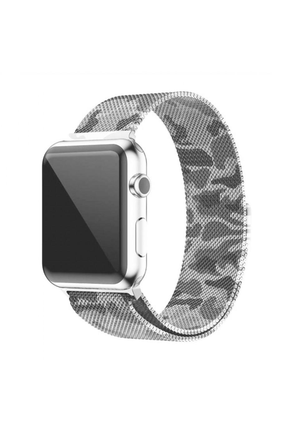Металлический ремешок для Apple Watch 4/5 44 мм, камуфляж зеленый