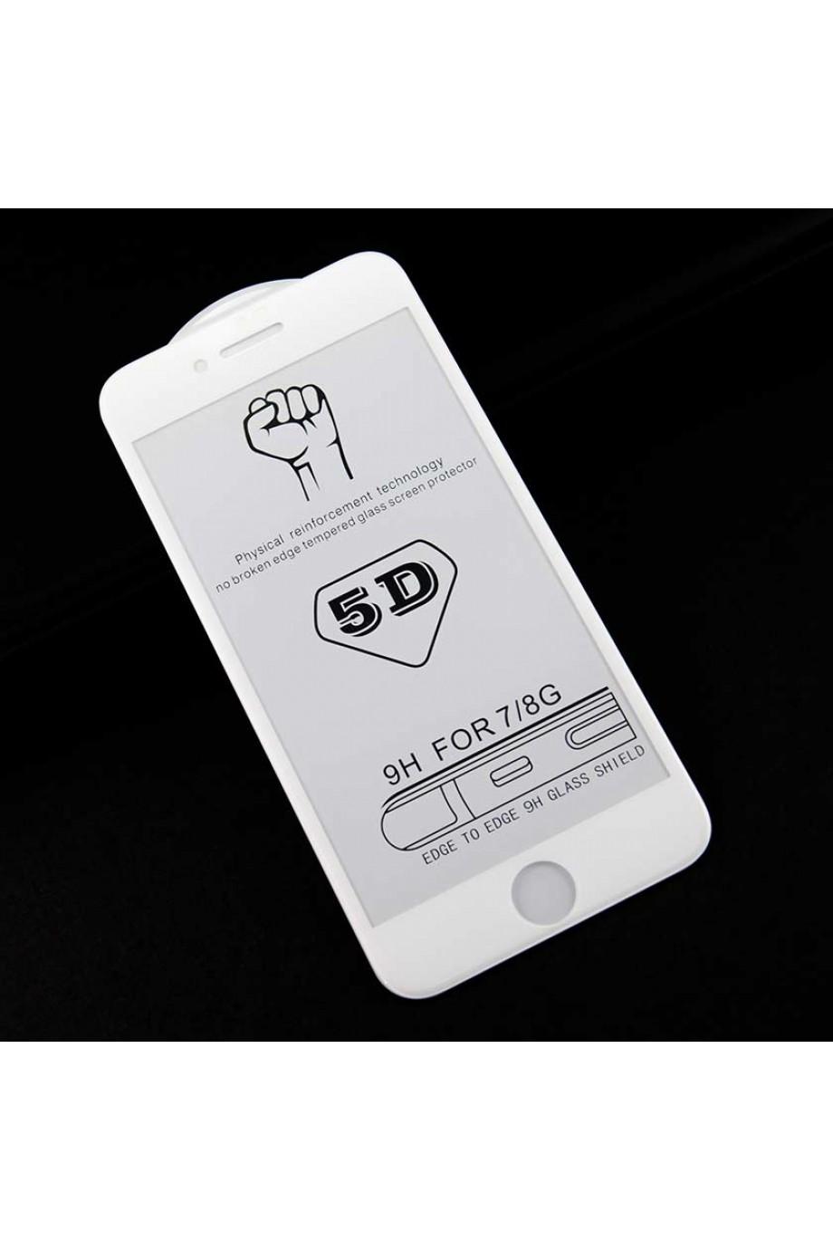 Защитное стекло 5D Mikomo для iPhone 8, белая рамка, полный клей