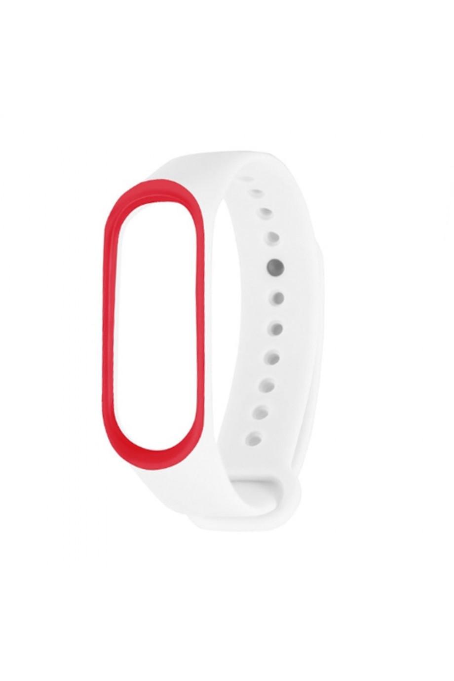Силиконовый ремешок для Xiaomi Mi Band 4, белый с красной окантовкой
