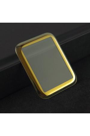 Защитное стекло 3D для Apple Watch 1/2/3 42 мм, золотая рамка, полный клей