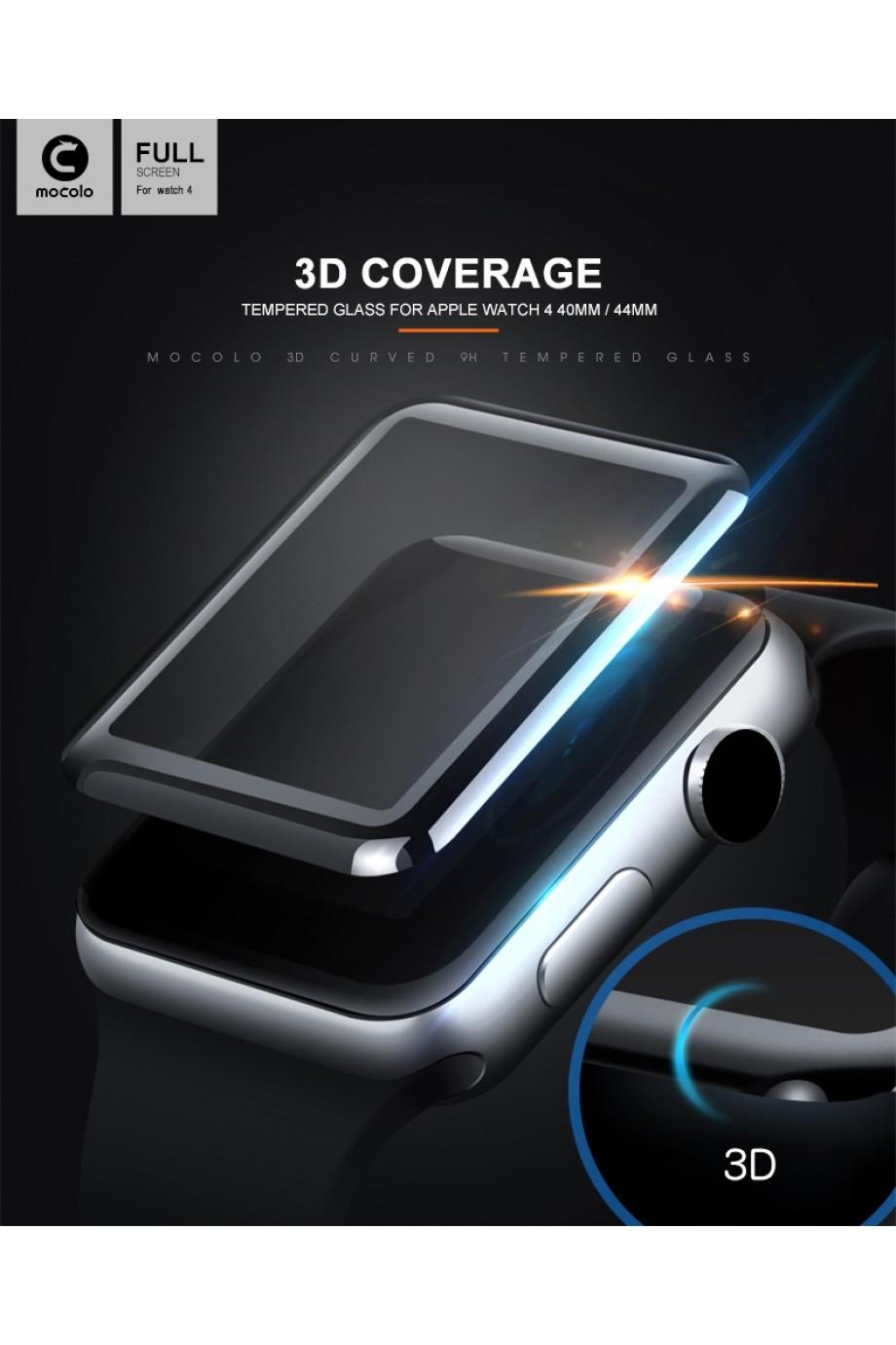 Защитное стекло 3D Mocolo для Apple Watch 1/2/3 42 мм, черная рамка