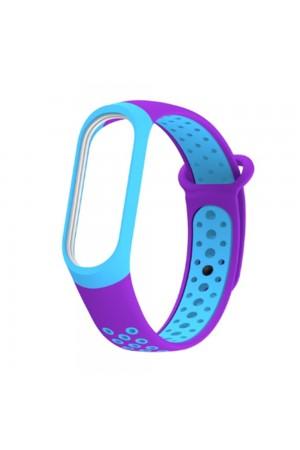 Силиконовый ремешок для Xiaomi Mi Band 4, фиолетовый-бирюзовый, перфорированный