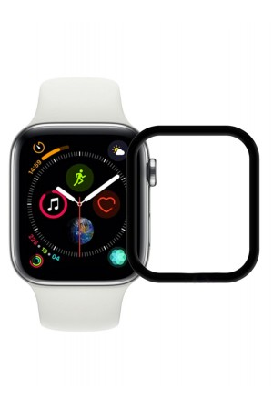 Защитное стекло 3D Ainy для Apple Watch 4/5 44 мм, черная рамка из углеродного волокна