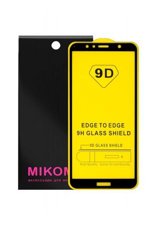 Защитное стекло 9D Mikomo для Huawei Y6 Prime 2018, черная рамка, полный клей