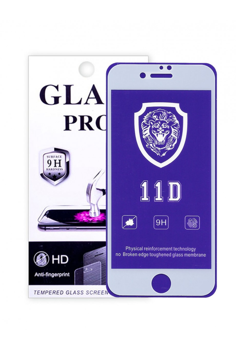 Защитное стекло 11D Glass Pro для iPhone 8, белая рамка, полный клей, mk072