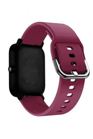Силиконовый ремешок для Amazfit Bip, 20 мм, застежка пряжка, вишневый, mkx060