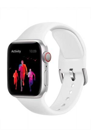 Силиконовый ремешок для Apple Watch 4/5 40 мм, с металлической застежкой, белый