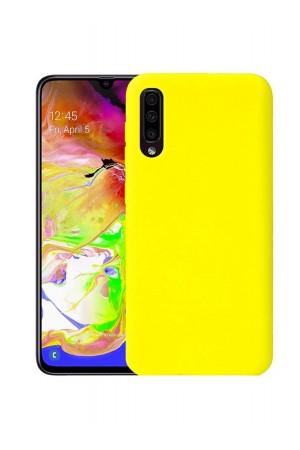 Чехол силиконовый для Samsung Galaxy A50, мягкая подложка, желтый