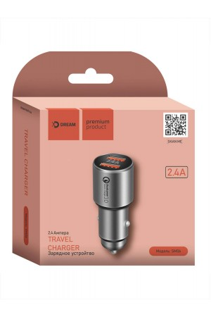 Автомобильное зарядное устройство Dream SM06, быстрая зарядка, 2.4 A