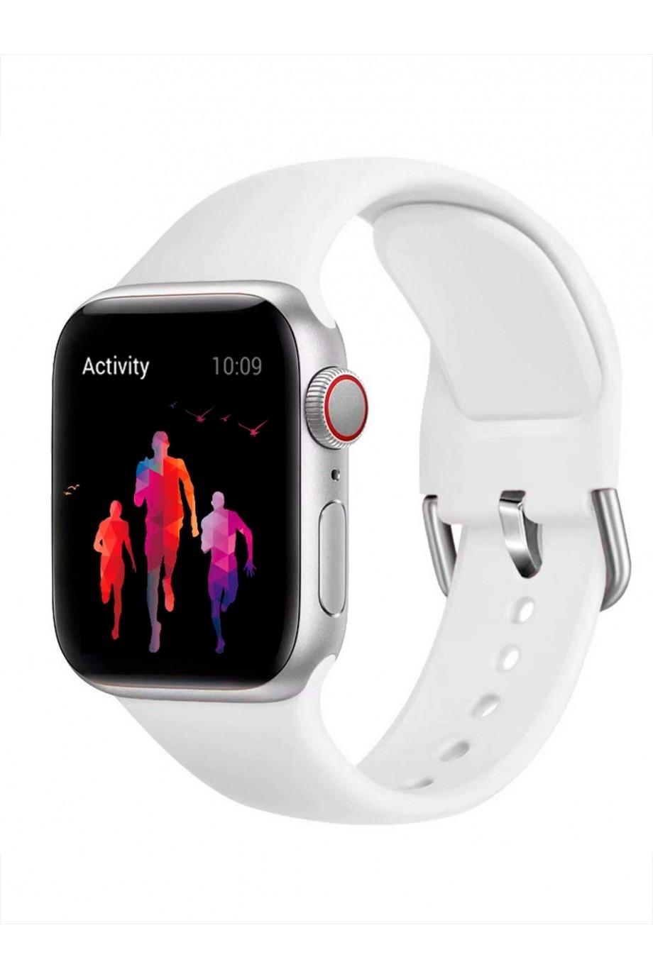 Силиконовый ремешок для Apple Watch 3 42 мм, застежка пряжка, белый