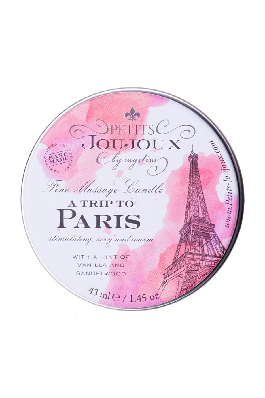 Массажная свеча Petits JouJoux Mini Paris с ароматом ванили и сандалового дерева, 43 мл