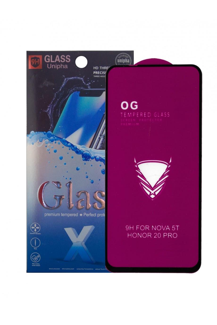 Защитное стекло 5D Glass Unipha для Honor 20 Pro, OG series, черная рамка, полный клей, mk062