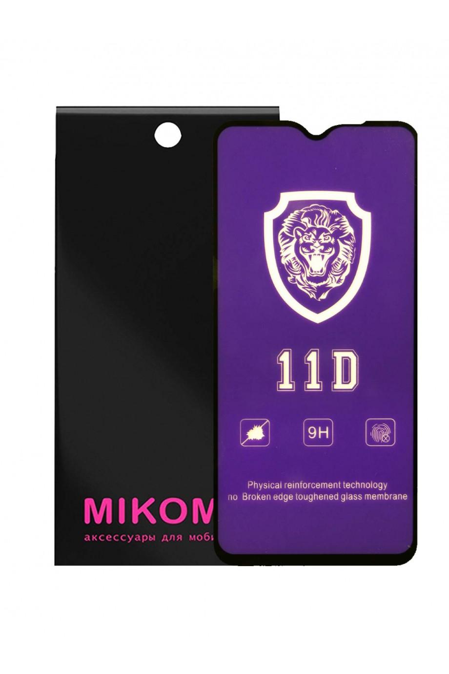 Защитное стекло 11D Mikomo для Xiaomi Redmi Note 8 Pro, черная рамка, полный клей
