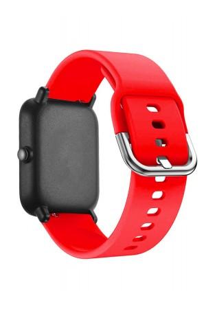 Силиконовый ремешок для Amazfit Bip, 20 мм, застежка пряжка, красный, mkx062