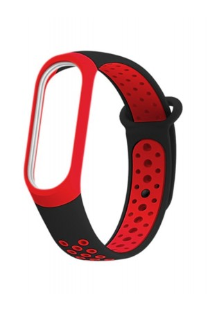 Силиконовый ремешок для Xiaomi Mi Band 3, черный-красный, перфорированный, mkx033