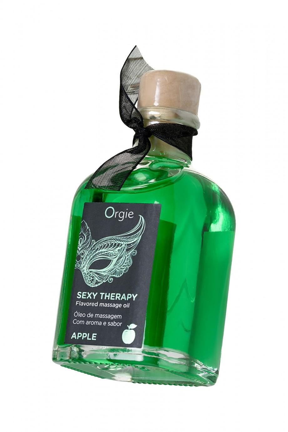 Комплект для сладких игр Orgie Lips Massage со вкусом яблока (массажное масло для поцелуев, перо и руководство), 100 мл
