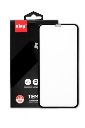 Защитное стекло 3D Ainy для iPhone XR, черная рамка, полный клей, mk081