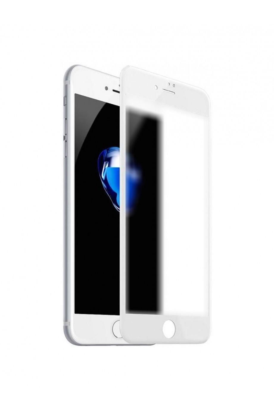 Защитное стекло 3D Ainy для iPhone 8, матовое, белая рамка, полный клей