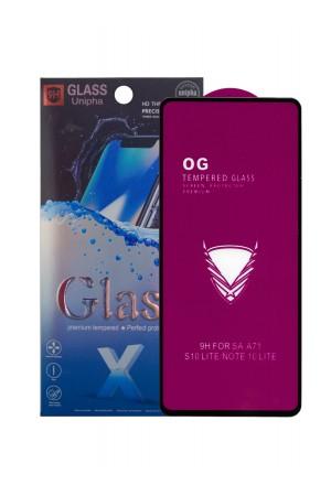 Защитное стекло 5D Glass Unipha для Samsung Galaxy A71, OG series, черная рамка, полный клей, mk066