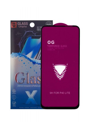 Защитное стекло 5D Glass Unipha для Huawei P40 Lite, OG series, черная рамка, полный клей, mk063