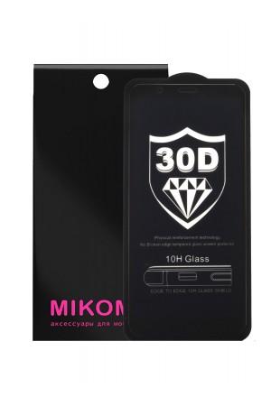 Защитное стекло 30D Mikomo для Huawei Y6 Prime 2018 черная рамка, полный клей