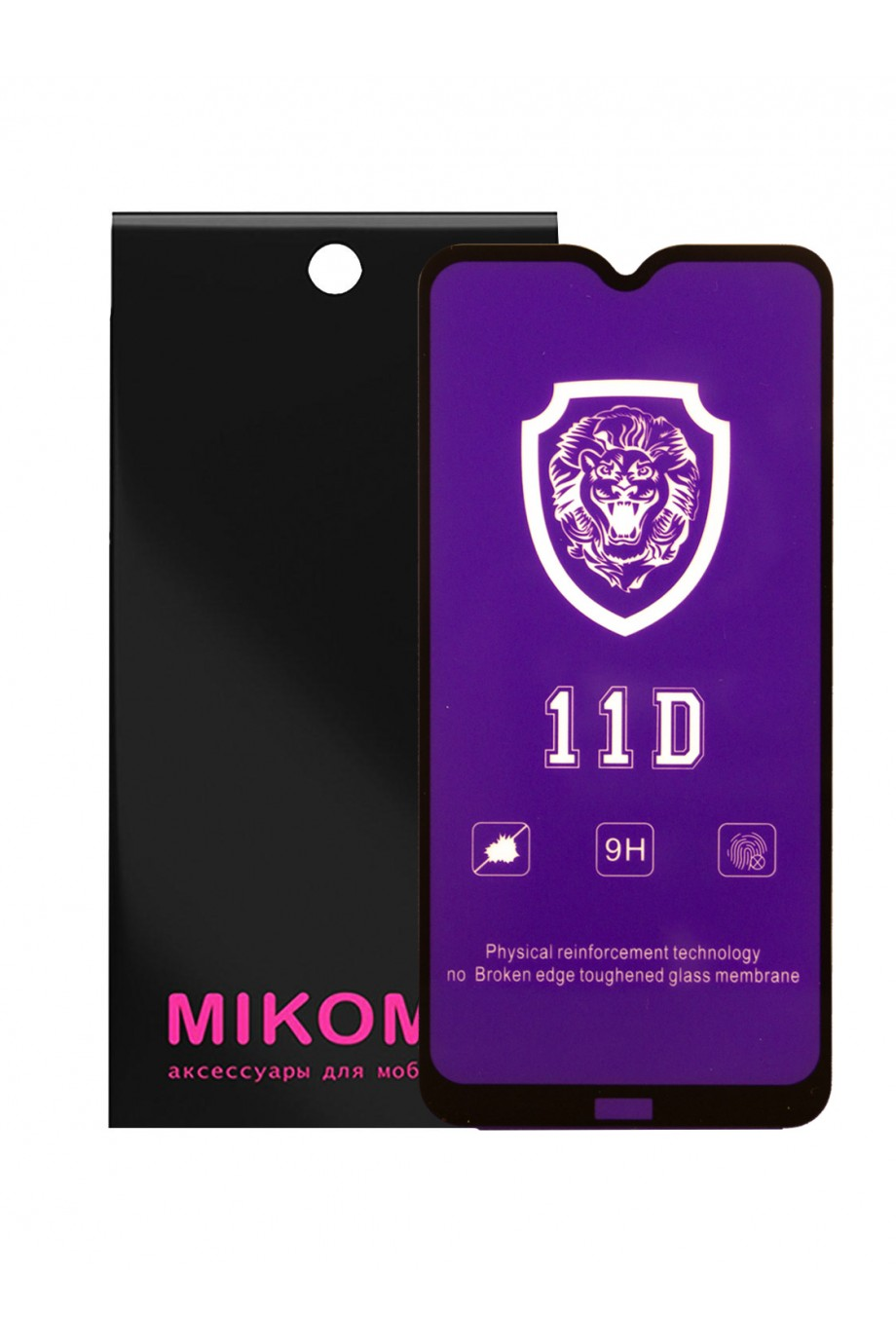 Защитное стекло 11D Mikomo для Xiaomi Redmi 8, черная рамка, полный клей