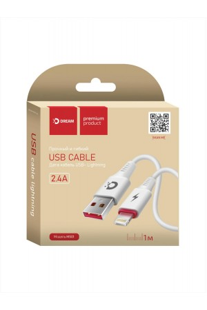 Кабель Dream MS01 USB – Lightning 8 pin, 1 м, белый