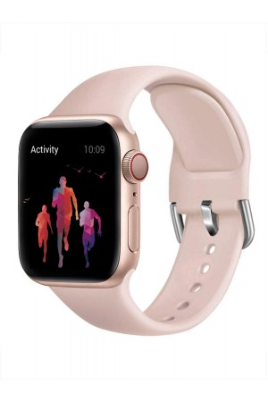 Силиконовый ремешок для Apple Watch 4/5 44 мм, с металлической застежкой, розовый лепесток