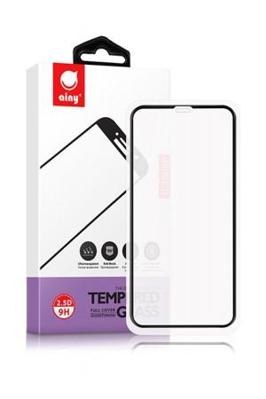 Защитное стекло Ainy для iPhone 11, черная рамка, полный клей